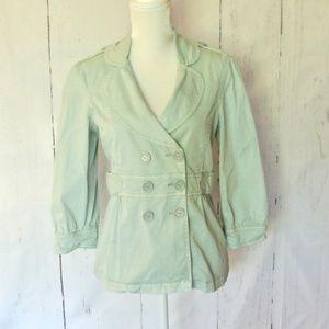 Sanctuary Double Button Coat Jacket  M Light Green